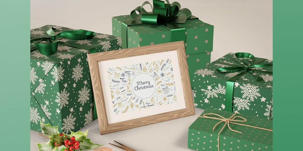Painting on Table beside wrapped Gifts Mockup