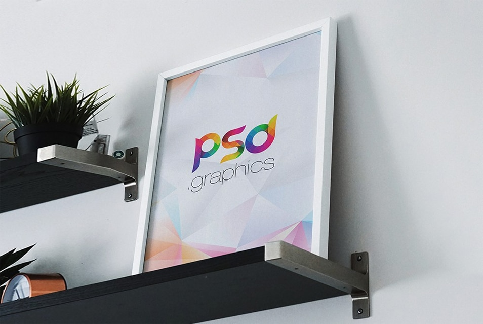 Photo Frame on Shelf Mockup