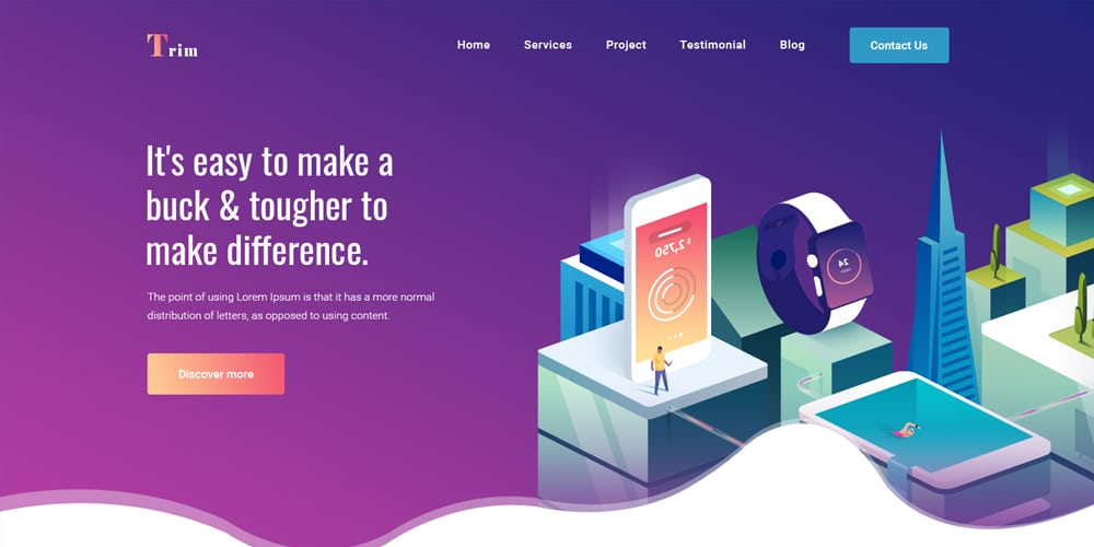 Trim Landing Page for Creative Business