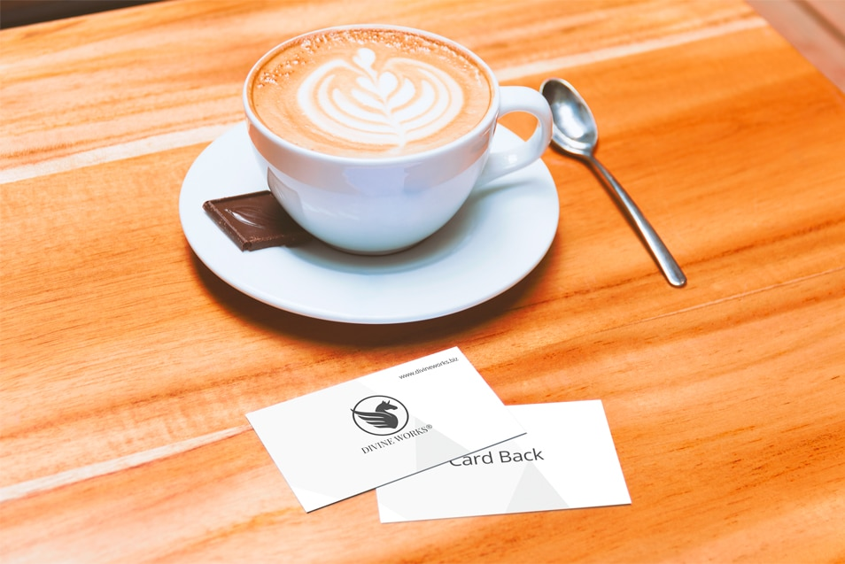 Business Card with Coffee Cup Mockup