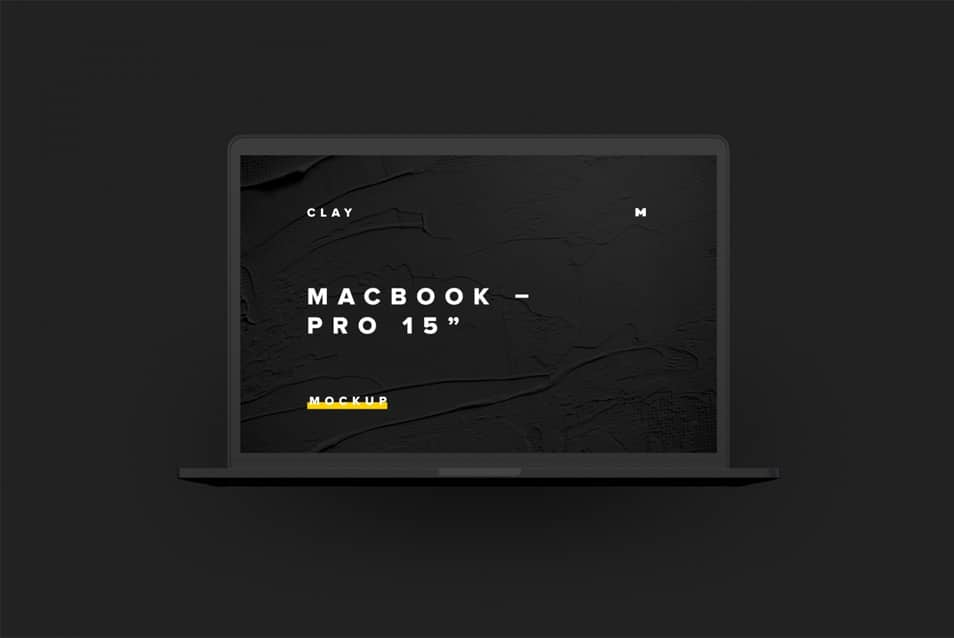 "Clay MacBook Pro 15"" with Touch Bar, Front View Mockup"