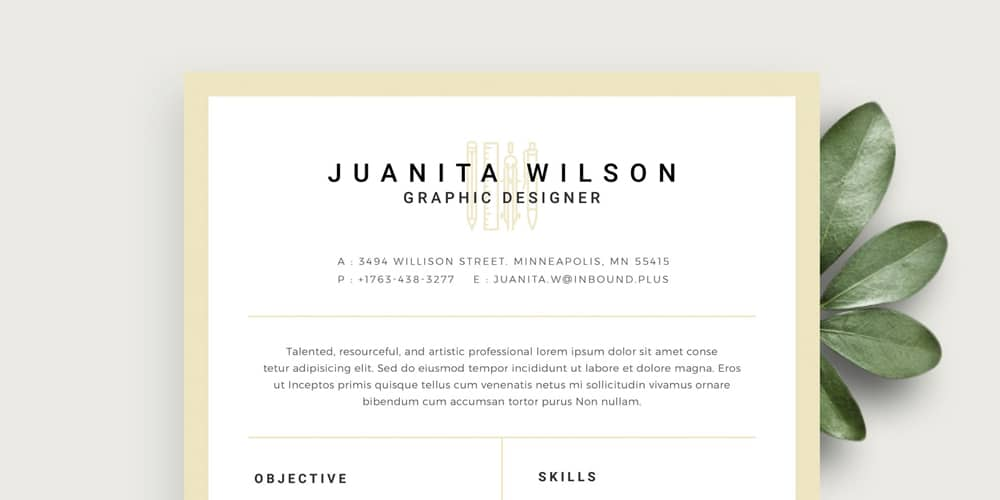 Clean One Page Resume Template PSD