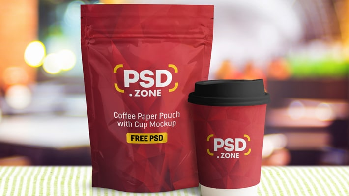 Coffee Paper Pouch with Cup Mockup