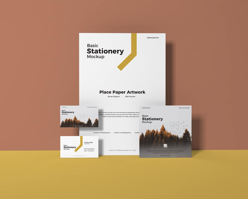Free Basic Stationery Mockup Design