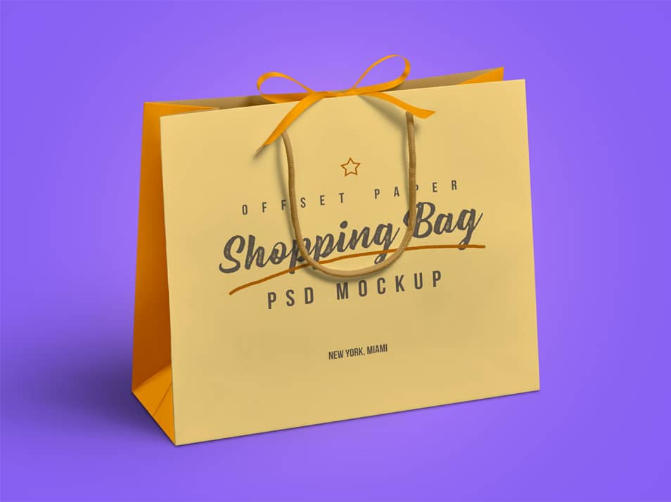 Free Grocery Paper Shopping Bag Mockup PSD