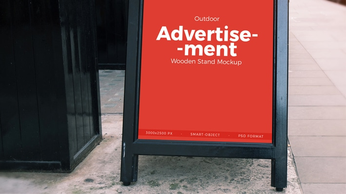 Free Outdoor Advertisement Wooden Banner Stand Mockup PSD