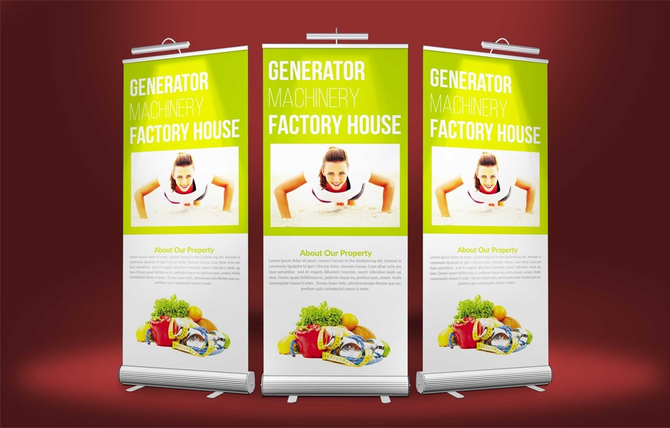 Free Premium Roll-up Banner Mockups PSD