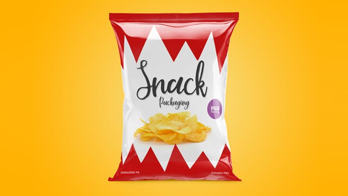 Free Snack Packaging Mockup PSD