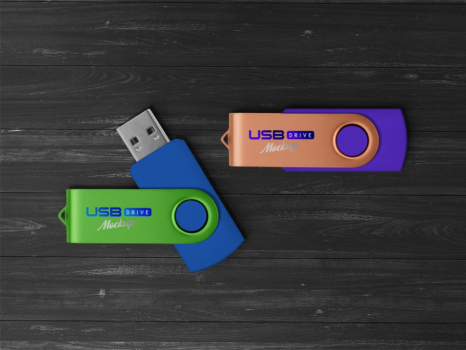 Free USB Flash / Pen Drive Memory Stick Mockup PSD