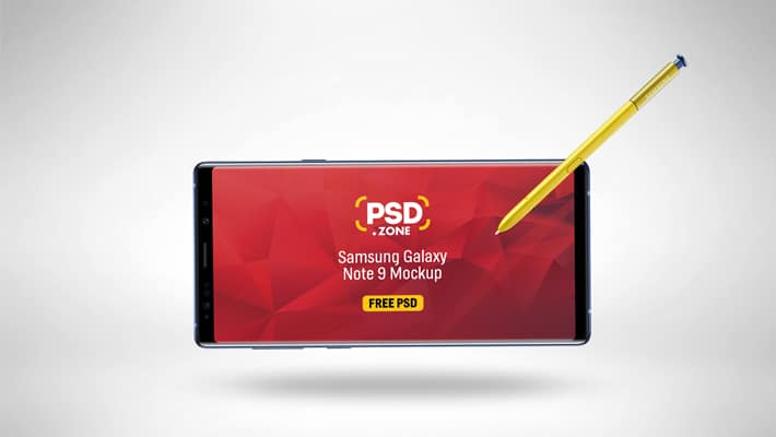 Galaxy Note 9 with S-pen Mockup PSD