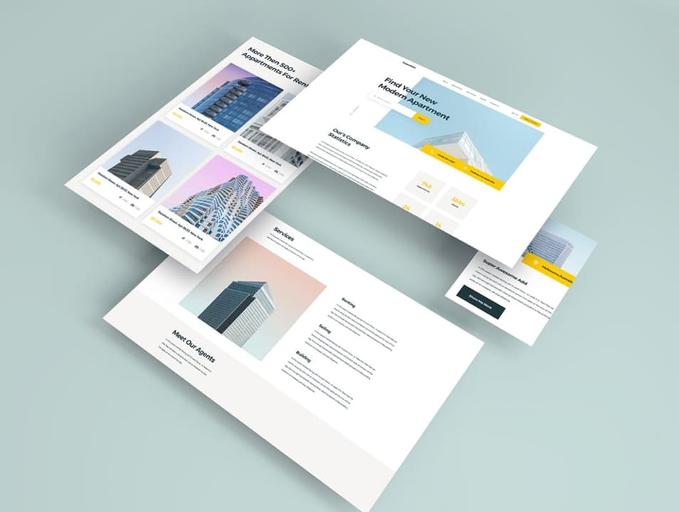 Isometric Web Pages Mockup