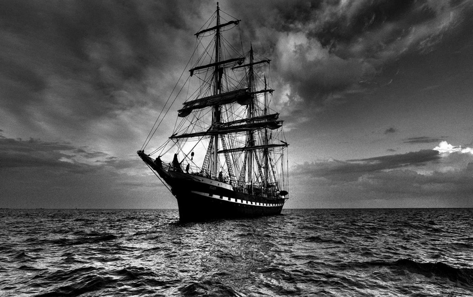 Ship Sea Sail Storm Black White