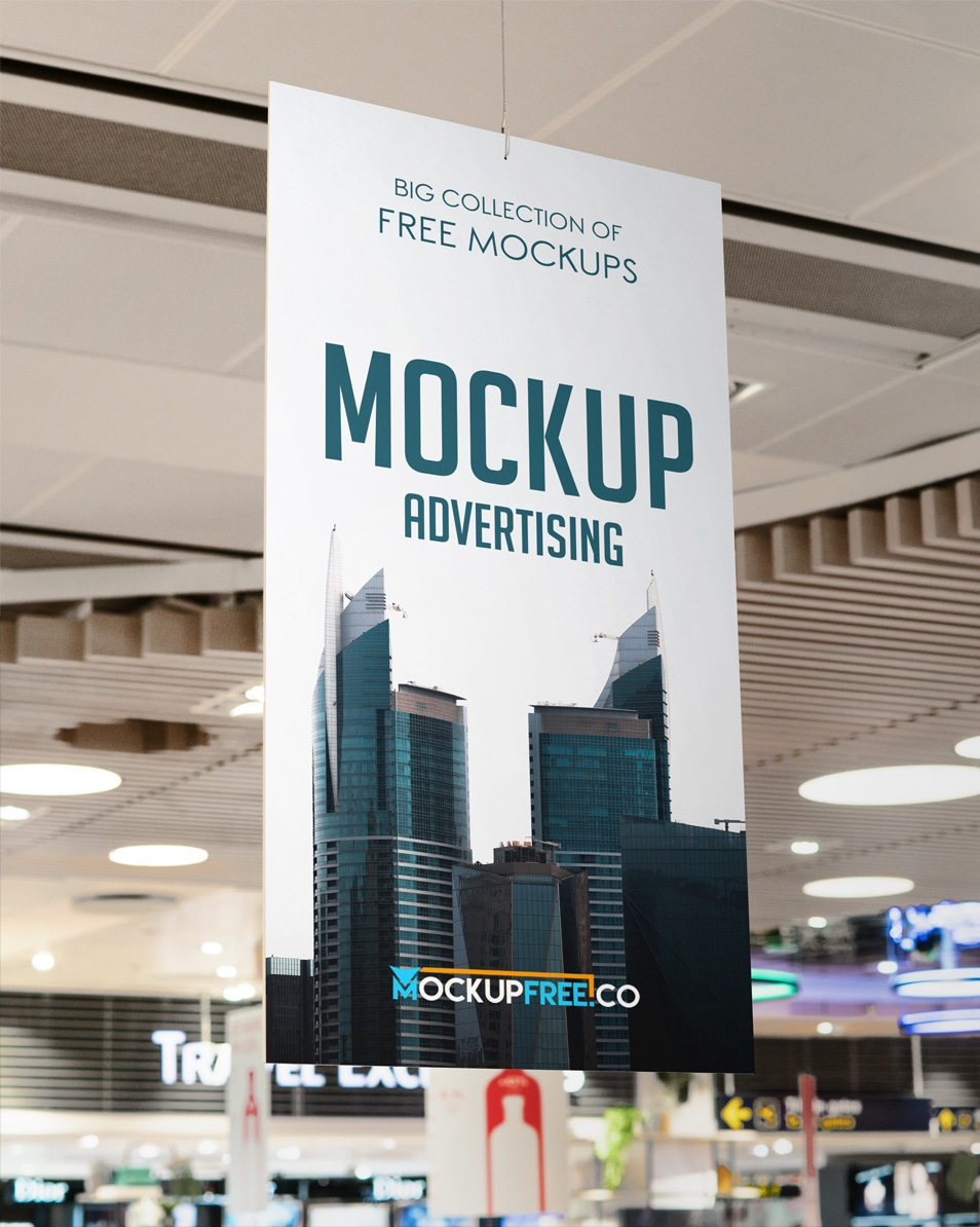 Advertising in Supermarket Free PSD Mockup
