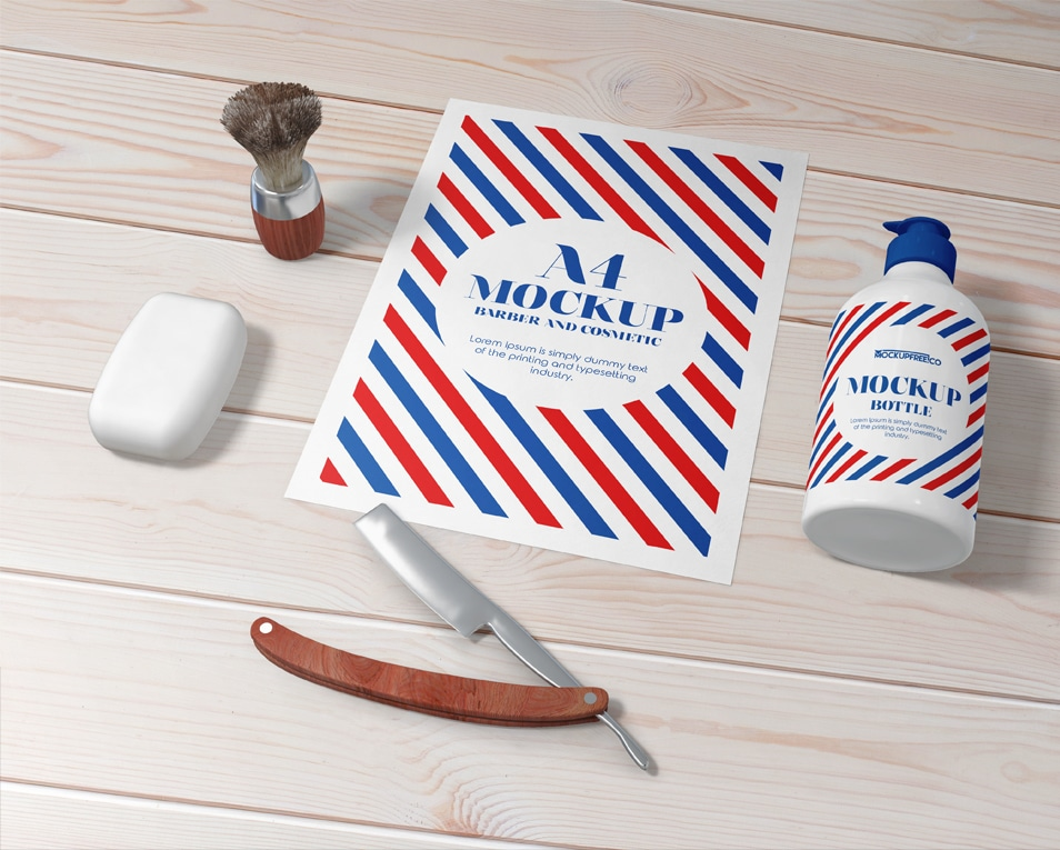 Barber and Cosmetic Free PSD Mockup