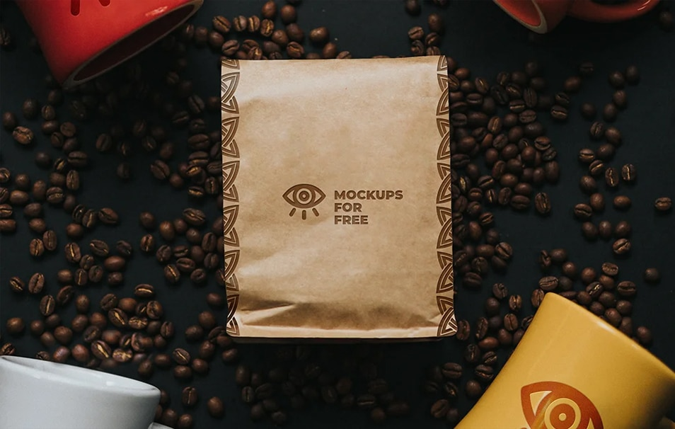 Coffee Paper Bag and Ceramic Cups Mockup