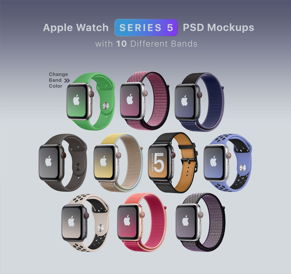 Free Apple Watch Series 5 Mockup PSD With 10 Different Bands