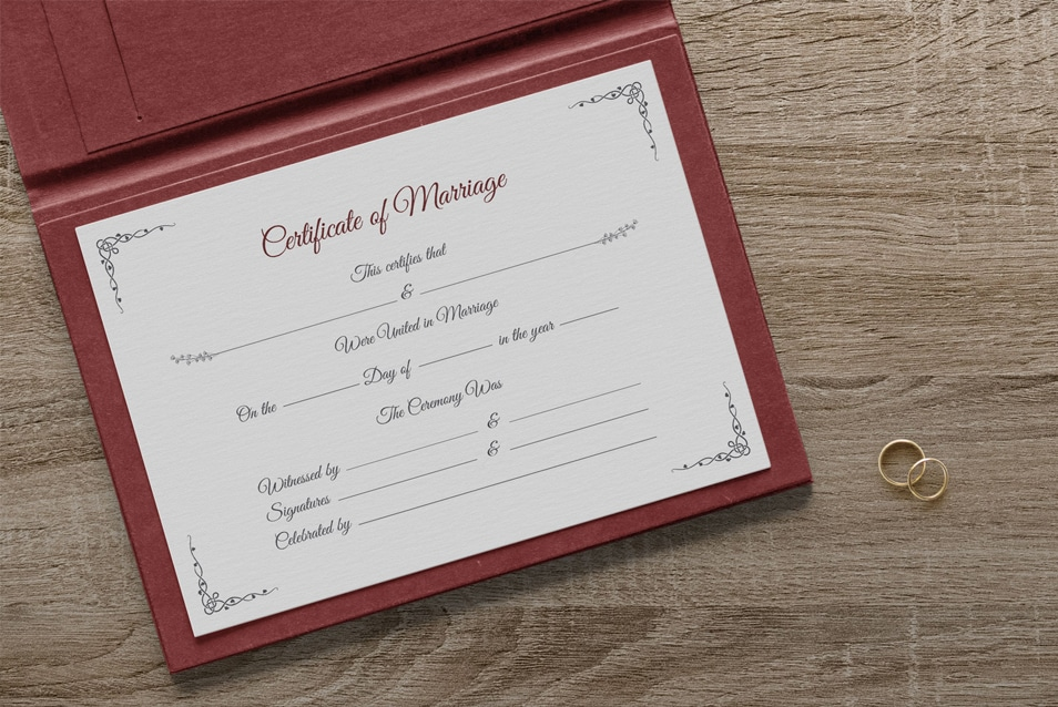 Free Certificate of Marriage Template Mockup PSD