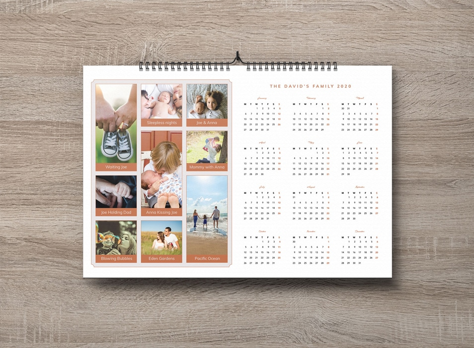Free Family Pictures 2020 Calendar Design Template PSD