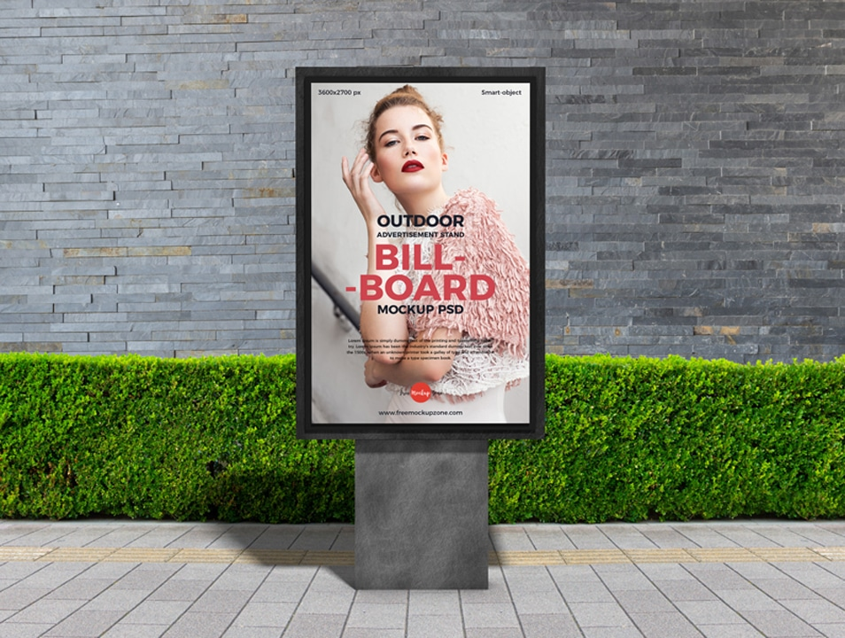 Free Outdoor Advertisement Stand Billboard Mockup PSD