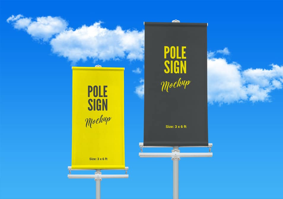 Free Outdoor Advertising Modern Street Pole Banner Mockup PSD