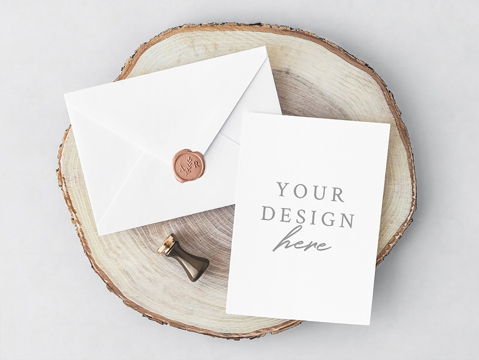 Free PSD Invitation Card & Envelope Mockup