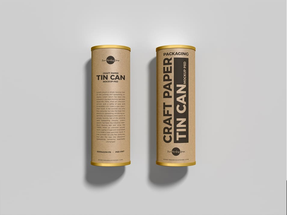 Free Packaging Craft Paper Tin Cans Mockup PSD