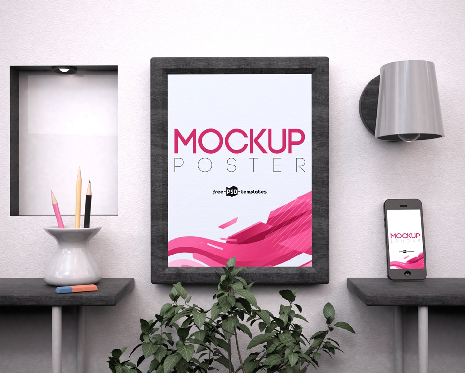 Free Poster and Telephone Mock-up in PSD