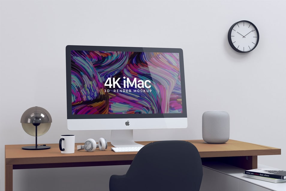 Free Retina 4K iMac Screen Website Mockup PSD