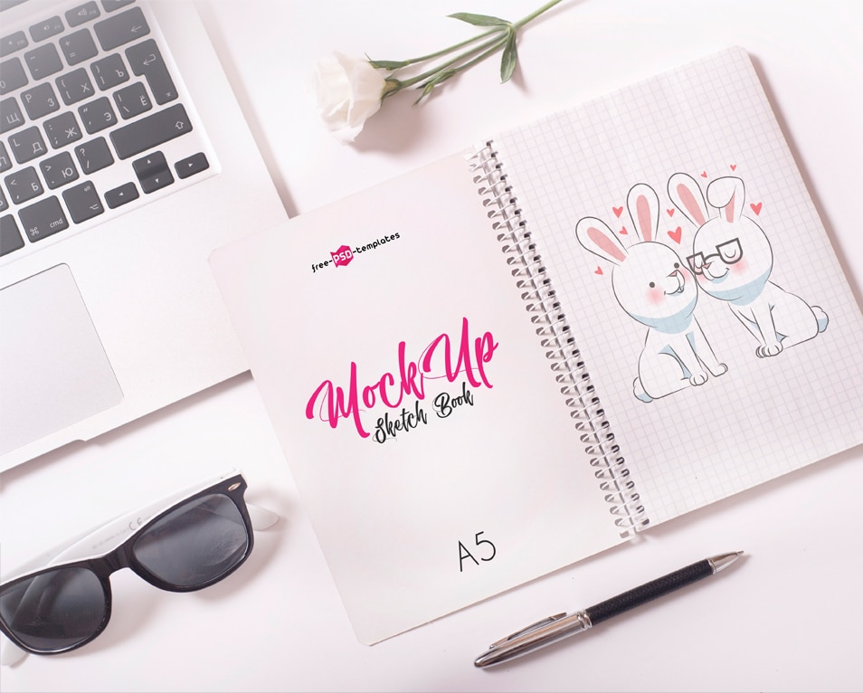 Free Sketch Book Mock-up in PSD