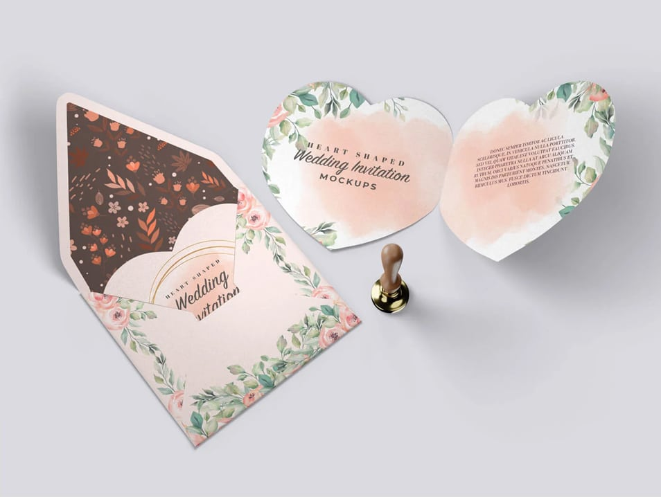 Heart Shaped Invitation Mockups