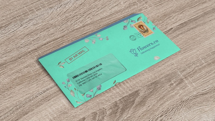 Free 9 x 4 Inches Windowed Envelope Mockup PSD