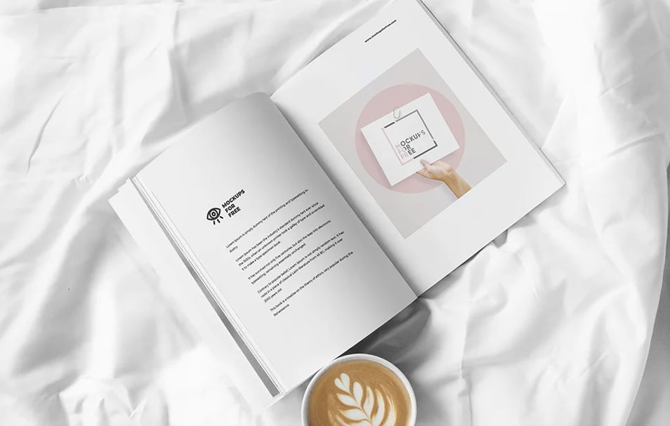 Open Magazine In Bed Mockup
