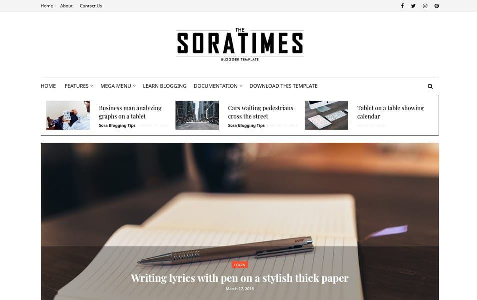 Sora Times Responsive Blogger Template