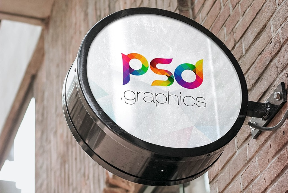 Wall Mounted Round Sign Board Mockup