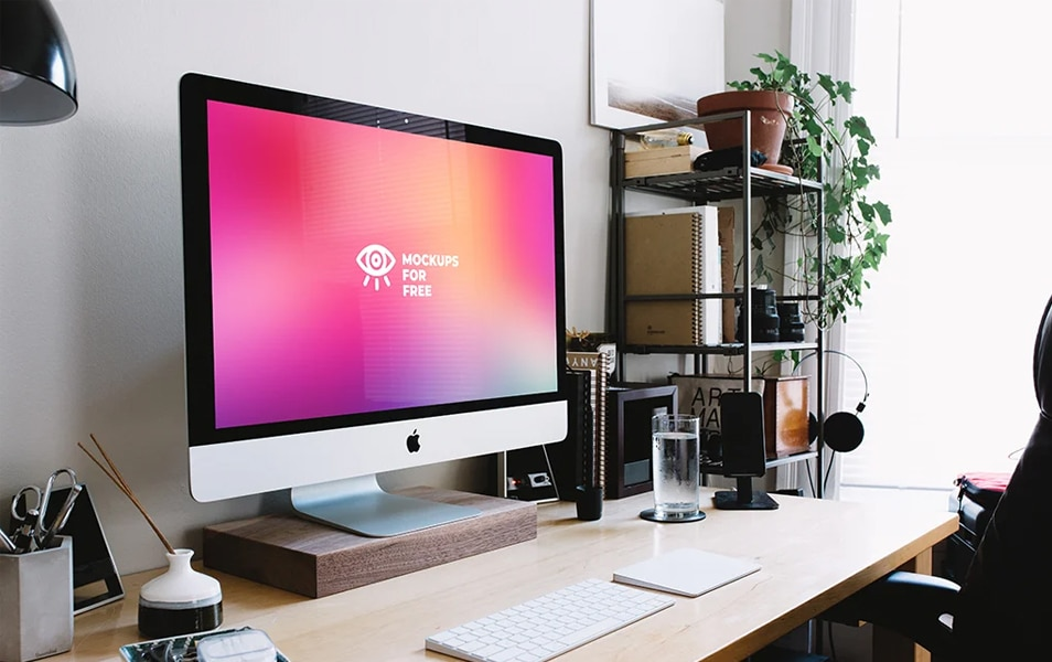 iMac Creative Work Space Mockup