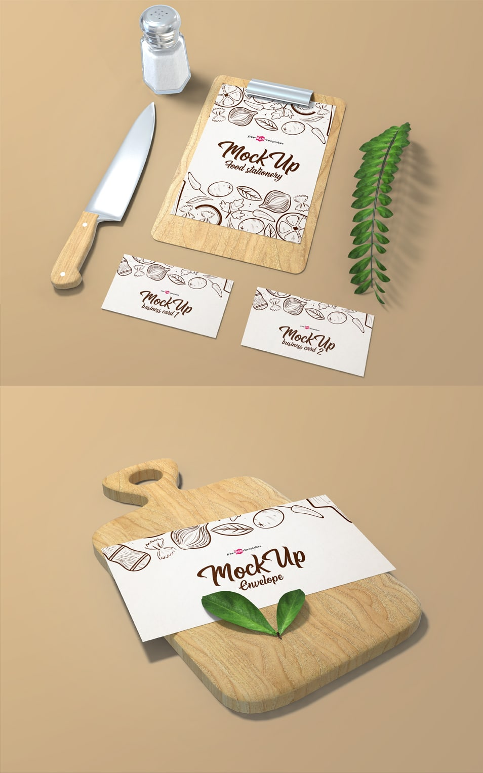 2 Free Food Stationery Mock-ups in PSD