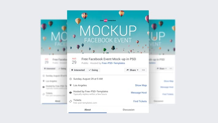 3 Free Facebook Event Page Mock-ups in PSD