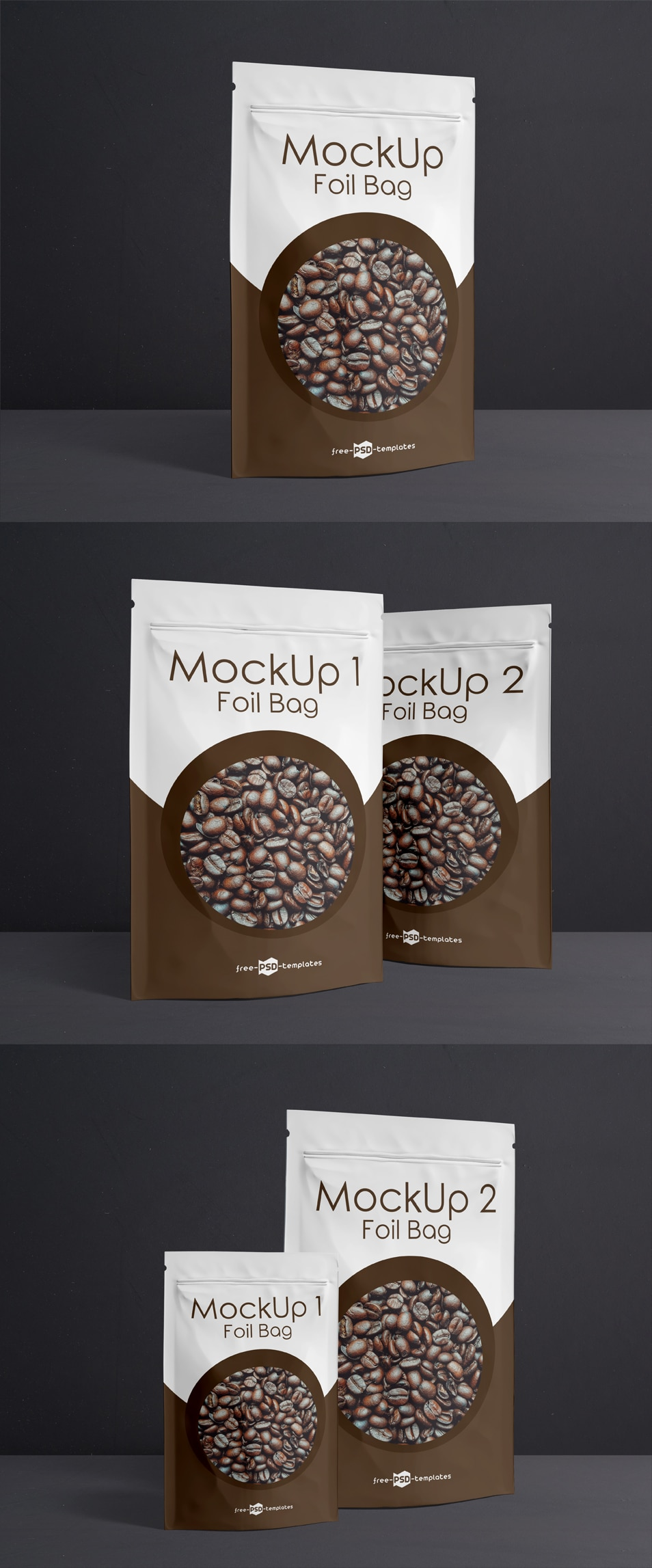 3 Free Foil Bag Mock-ups in PSD