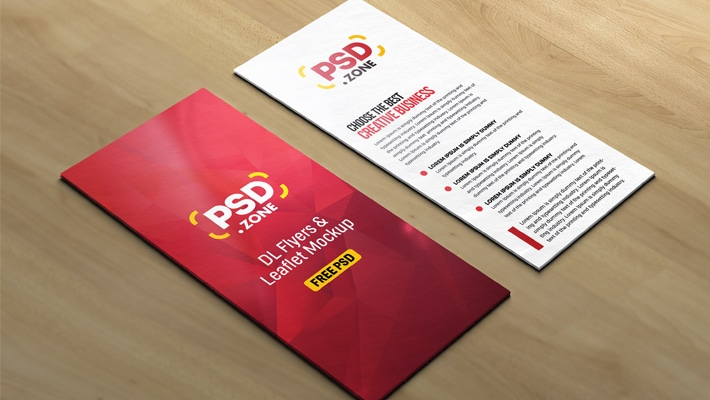 DL Flyers and Leaflet Mockup PSD