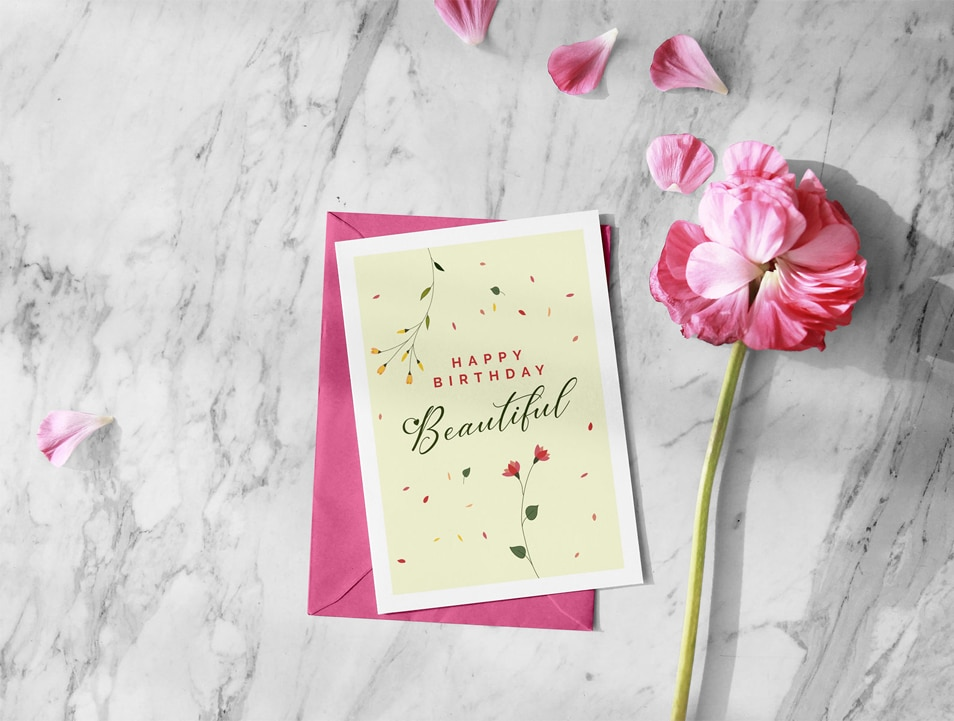 Free Beautiful Happy Birthday Greeting Card Design & Envelope Mockup PSD