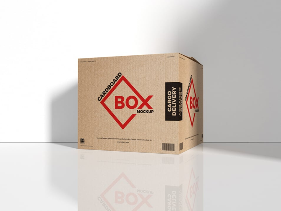 Free Cargo Delivery Cardboard Box Mockup