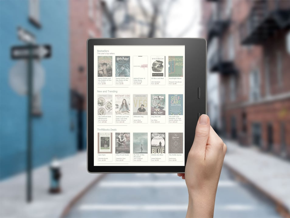 Free Kindle Oasis In Hand Mockup PSD