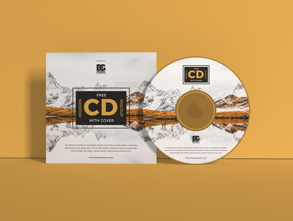 Free Modern CD Mockup With Cover