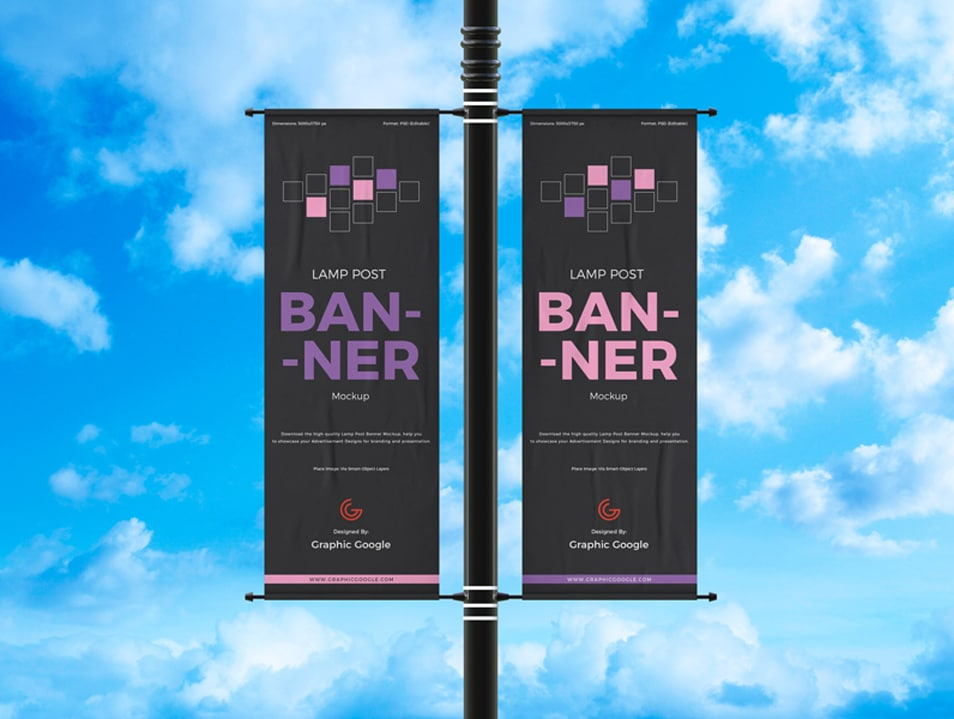 Free Outdoor Advertisement Lamp Post Banner Mockup