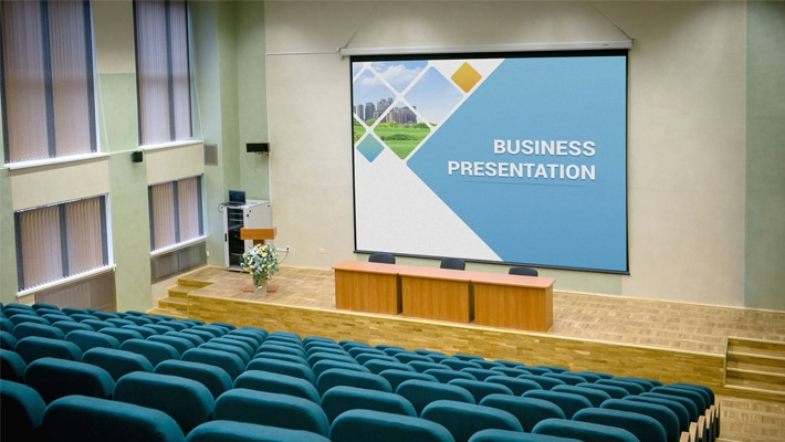 Free Presentation Hall Projector Screen Mockup PSD
