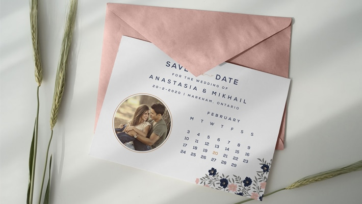 Free Save the Date Postcard Design Template & Envelope Mockup PSD