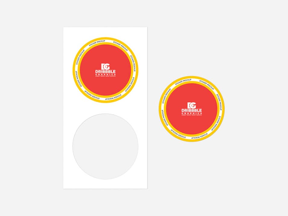 Free Top View Branding Sticker Mockup