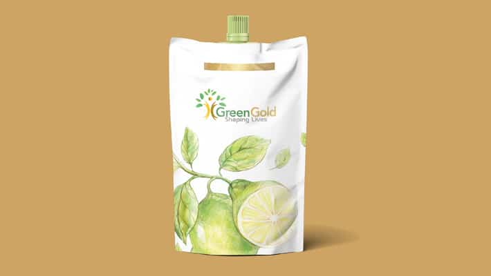 Green Oil Pouch Label Mockup