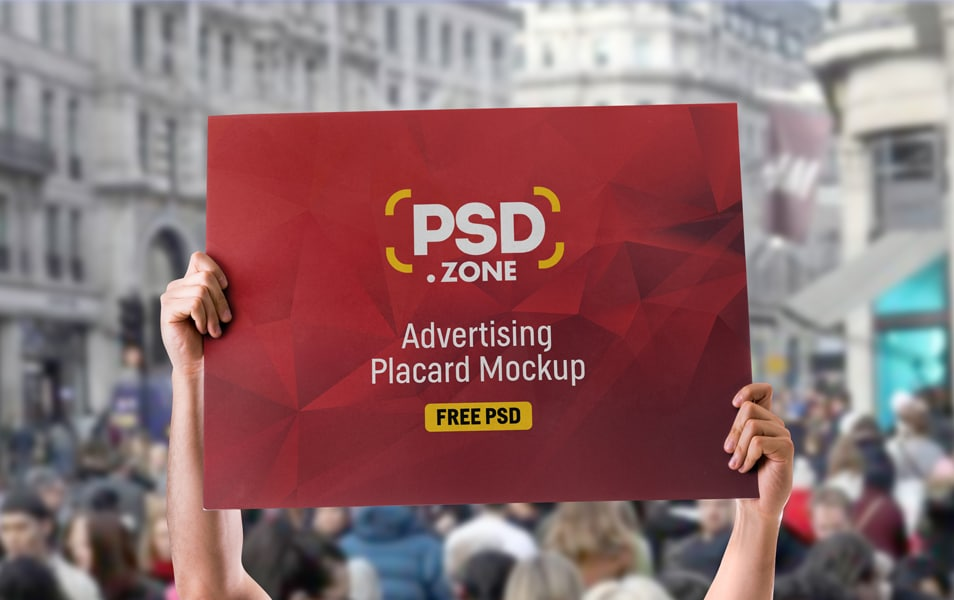 Advertising Placard Mockup Free PSD