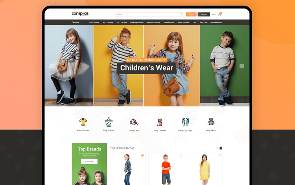 Compras Kids Clothing E-Commerce Web UI Kit